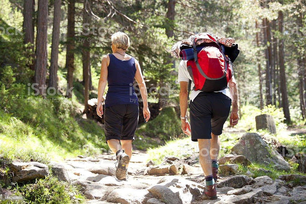 Couple hiking royalty-free stock photo