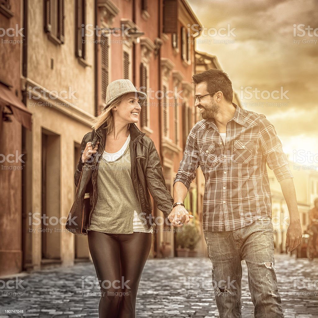 Couple holding hands happiness in a europe old town royalty-free stock photo