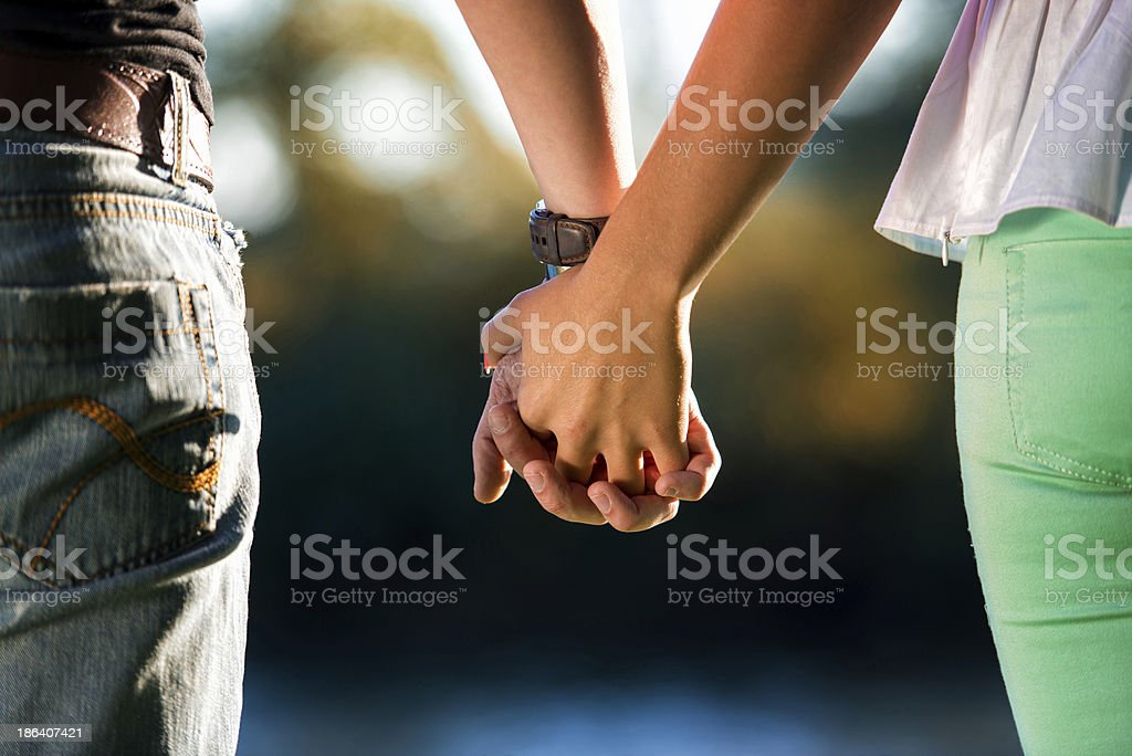 Couple Holding Hands A Young Couple Holding Hands In The Sunset A Helping Hand Stock Photo