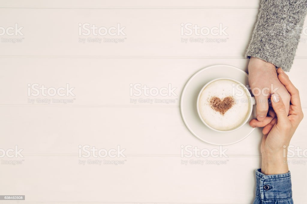 white table top view. Couple Holding Hands With Coffee On White Table, Top View Royalty-free Stock Photo Table C