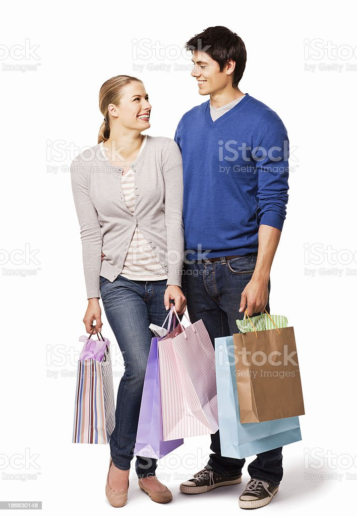 Couple Holding Shopping Bags royalty-free stock photo