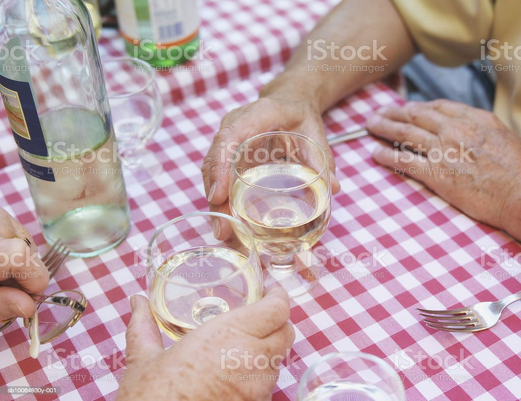 Couple holding wine glasses, close-up, elevated view royalty-free stock photo