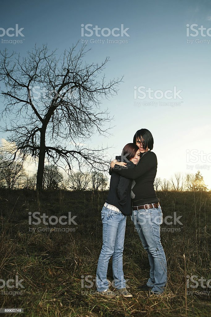 Couple Hugging during Sunset Portrait royalty-free stock photo