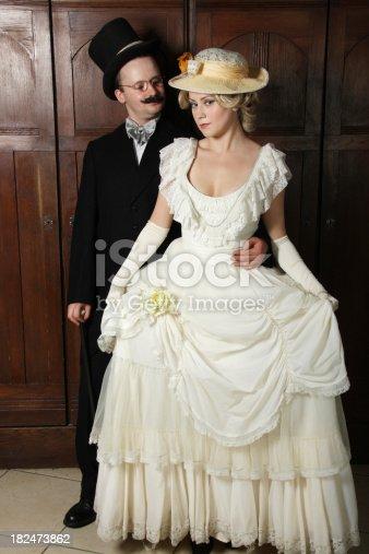 istock Couple in 19th century garment 182473862