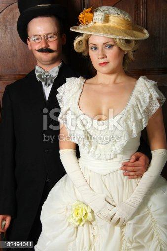 istock Couple in 19th century garment 182494041