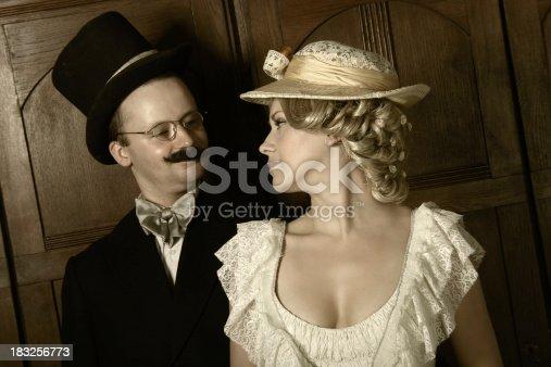 istock Couple in 19th century garment 183256773