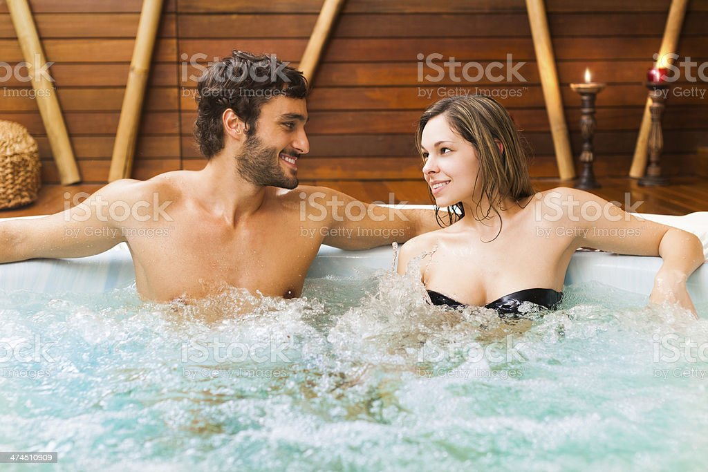 Couple in a beauty farm stock photo