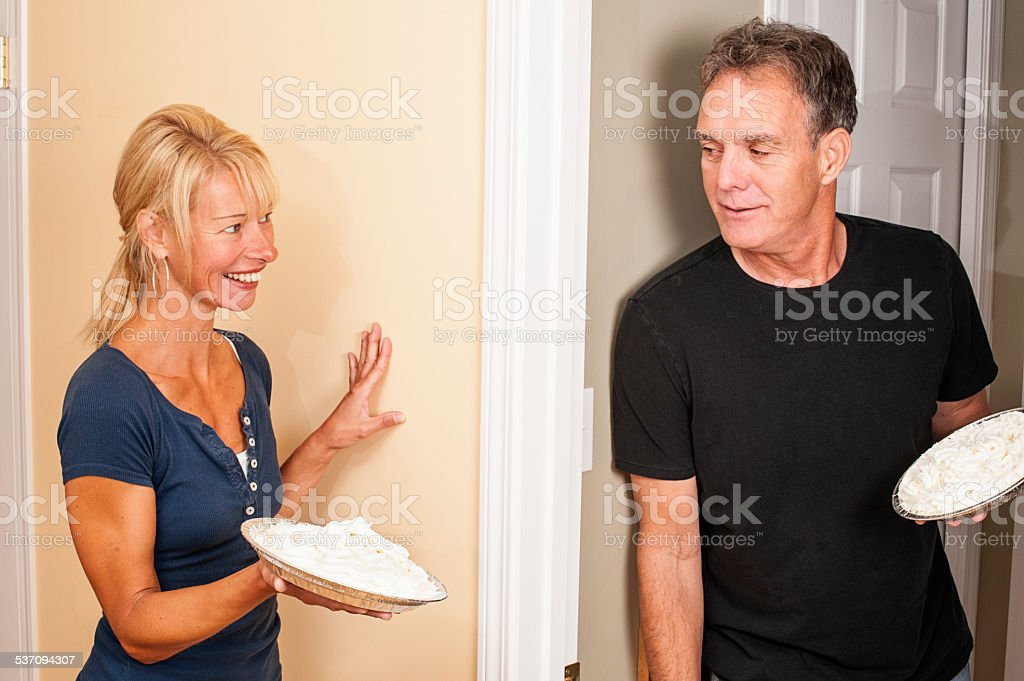 Couple In A Family Pie Fight Stock Photo - Download Image ...