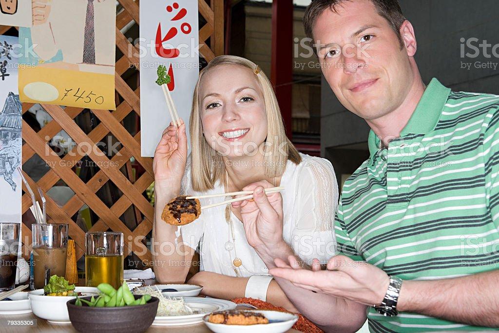 Couple in a japanese restaurant 免版稅 stock photo
