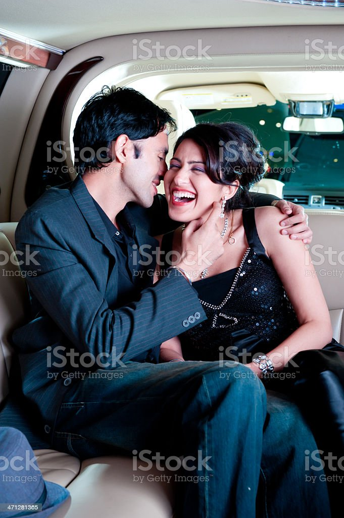 Couple in a Limo royalty-free stock photo