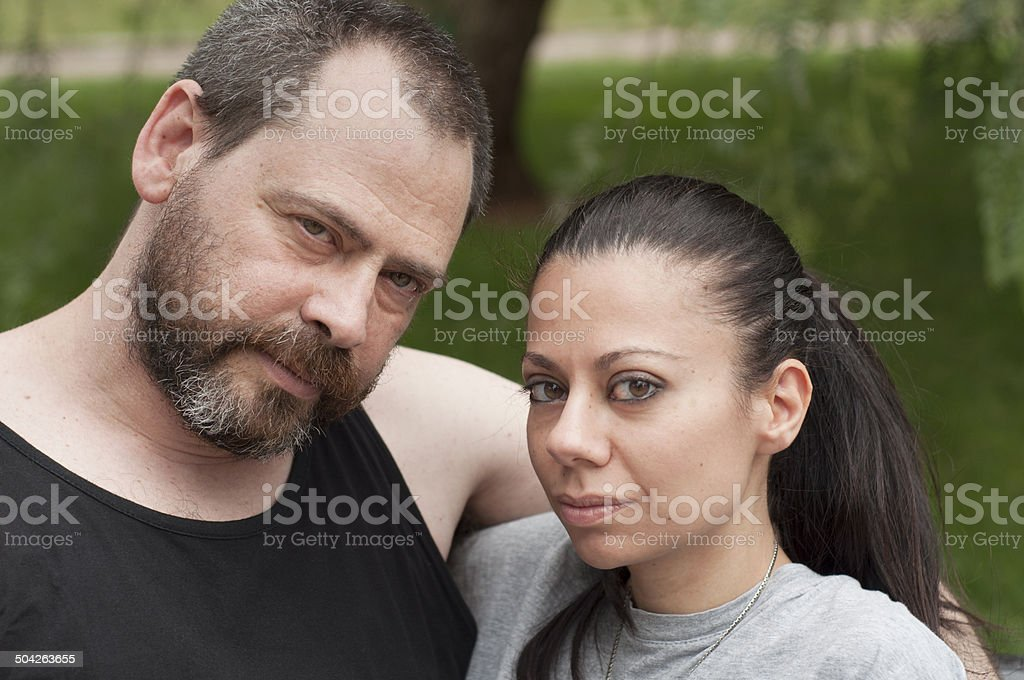 Couple in a park royalty-free stock photo