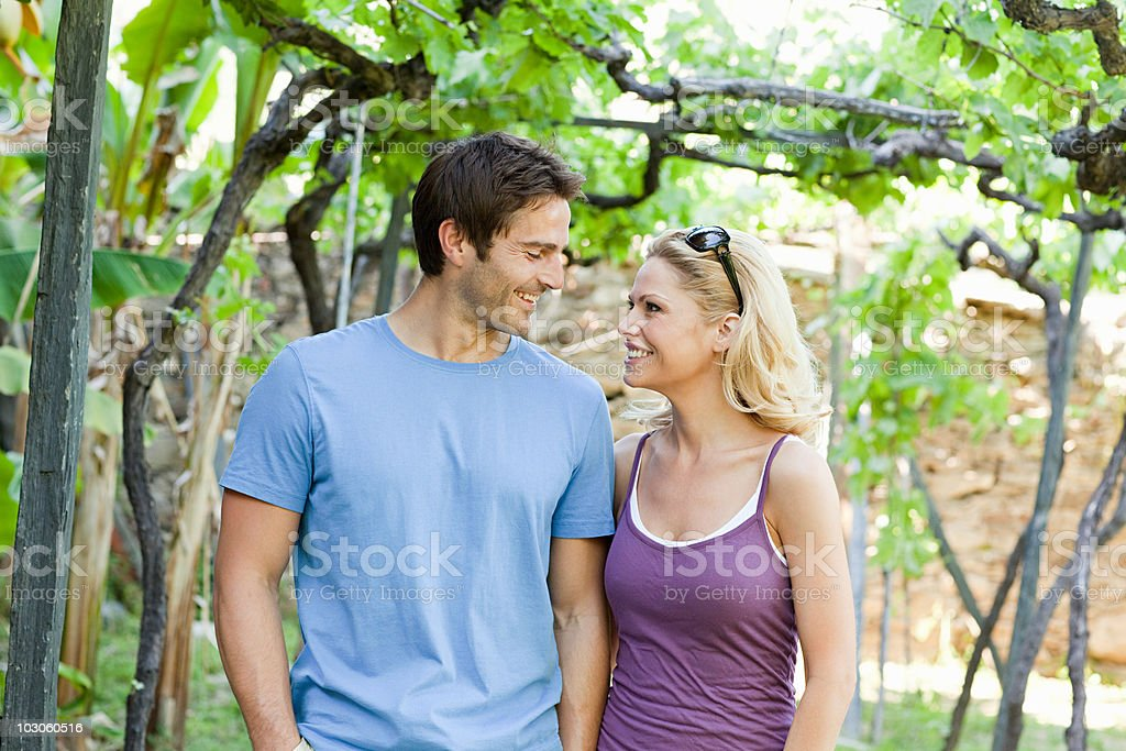 Couple in a vineyard royalty-free stock photo