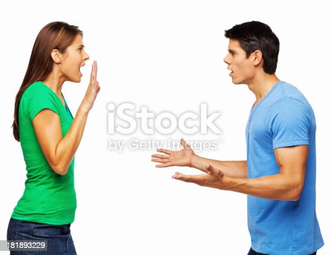 993706062 istock photo Couple In an Argument - Isolated 181893229