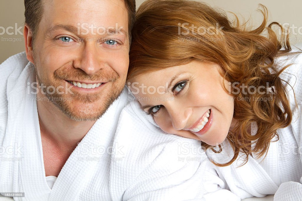 Couple in bathrobes royalty-free stock photo