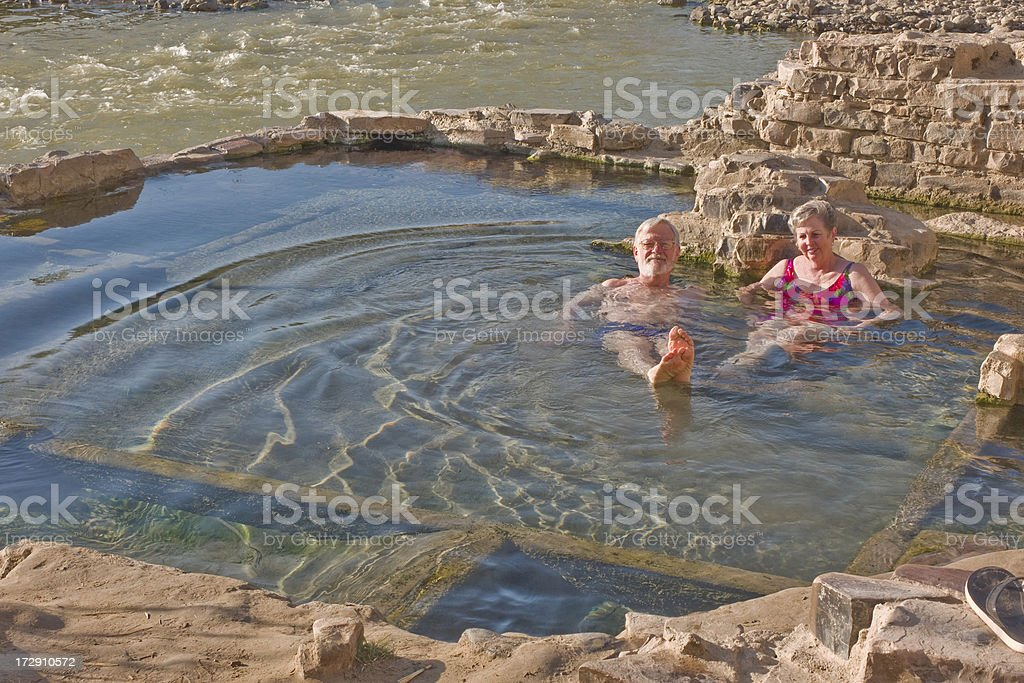 Couple in Big Bend's Hot Spring stock photo