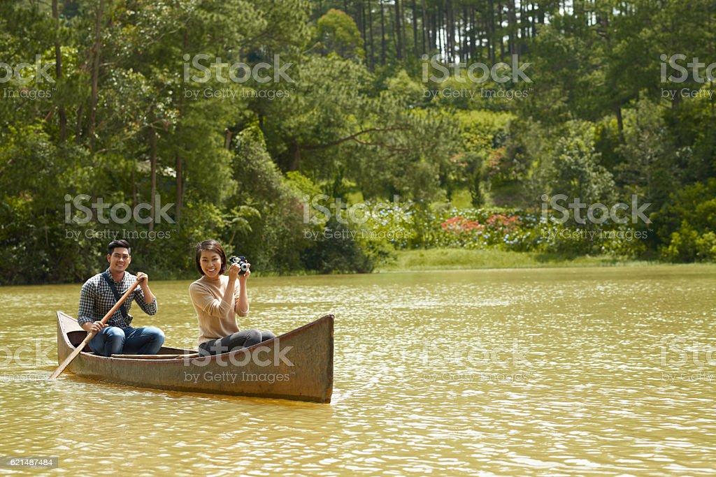 Paar im Boot Lizenzfreies stock-foto