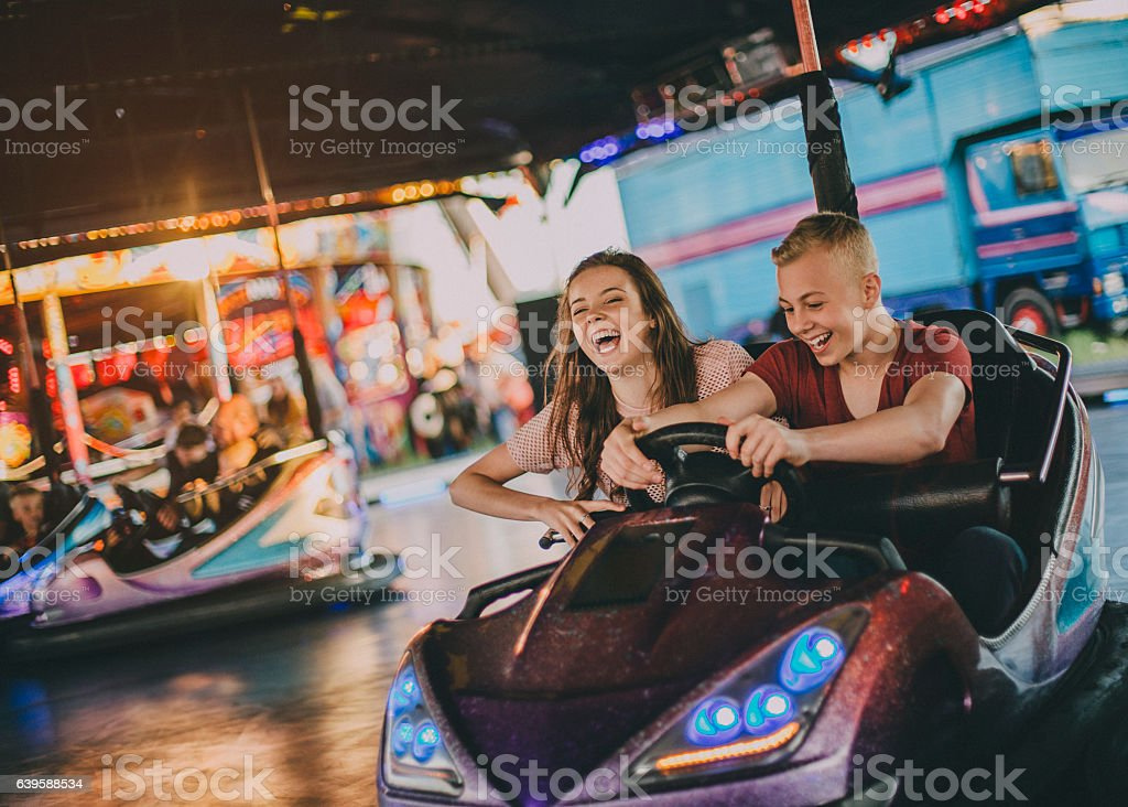Couple in Bumper Cars stock photo