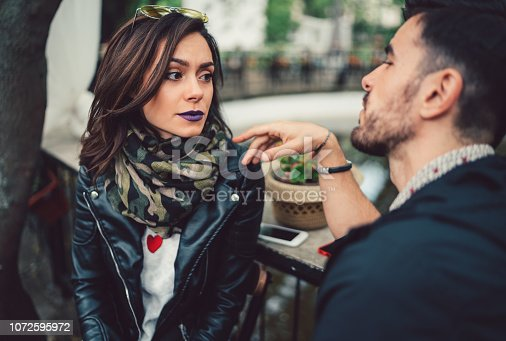 istock Couple in cafe breaking up 1072595972