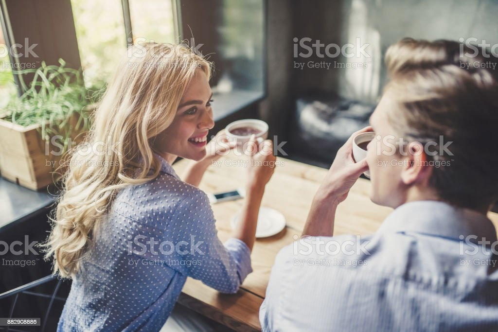 Couple in cafe. stock photo