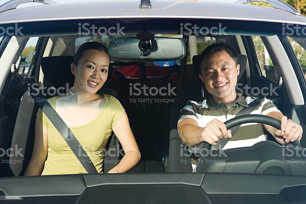 Couple in car royalty-free stock photo