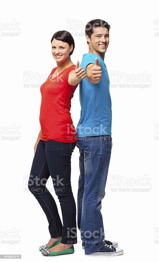 Couple In Casuals Wishing Good Luck - Isolated royalty-free stock photo