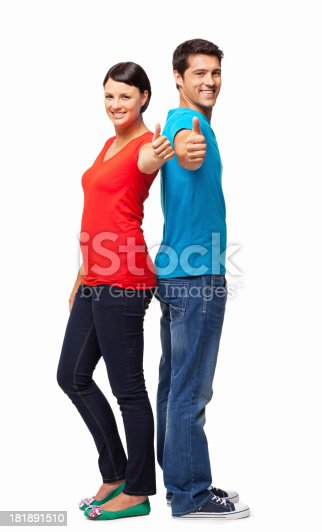 istock Couple In Casuals Wishing Good Luck - Isolated 181891510