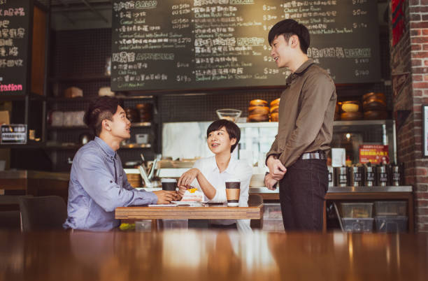 Couple in coffee shop stock photo