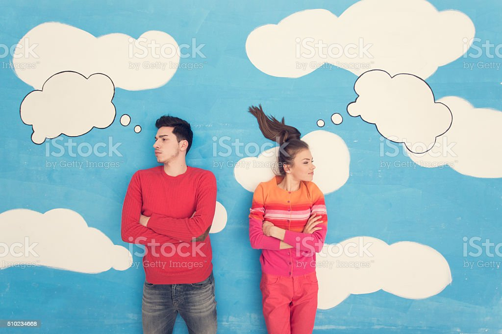 Couple in comic book: Arguing stock photo