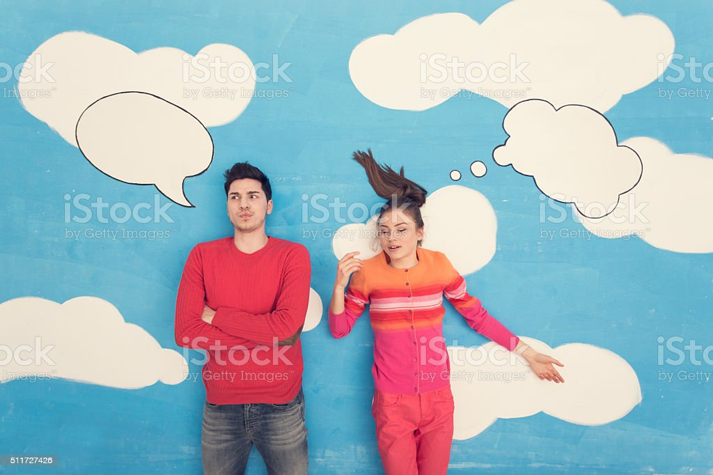 Couple in comic book: Communication stock photo