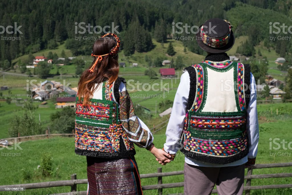 Couple in ethnic and traditional Ukrainian clothes stock photo