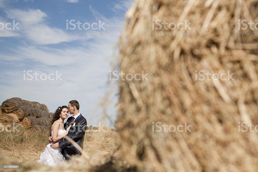 Paar im Feld mit Heu – Foto