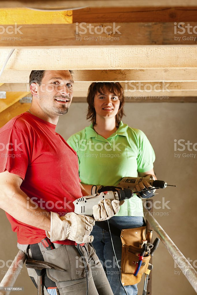 Couple in home improvement royalty-free stock photo
