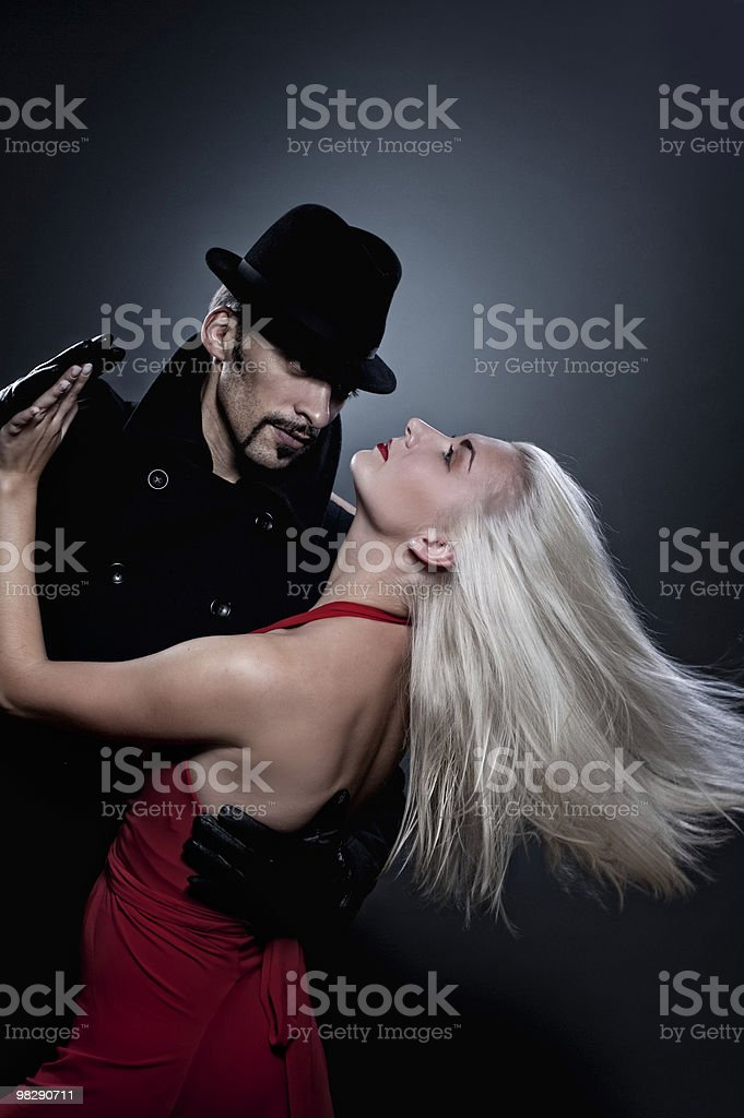 Couple in love dancing tango royalty-free stock photo