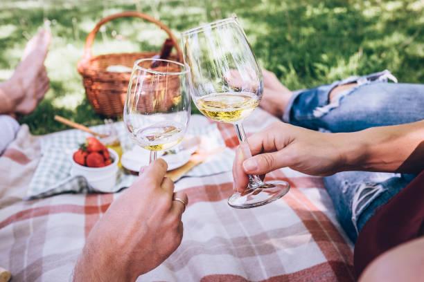 verliebte paar trinkt weißwein auf sommer-picknick - romantisches picknick stock-fotos und bilder