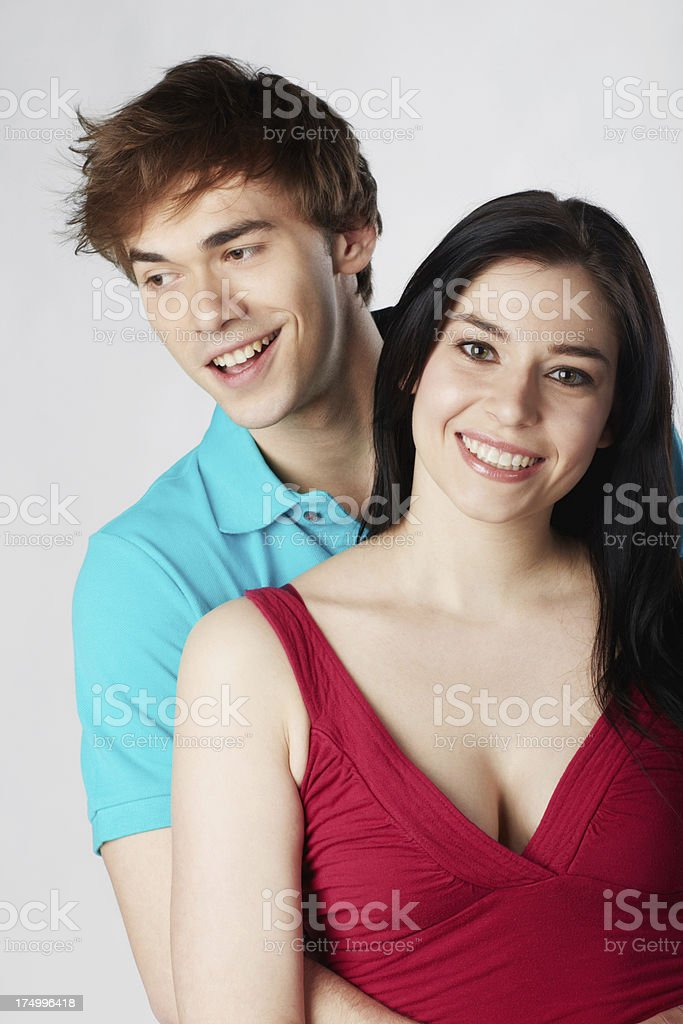 Couple in love embracing and smiling royalty-free stock photo