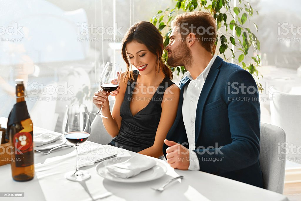 Couple In Love Having Romantic Dinner. Valentine's Day. Romance, bildbanksfoto
