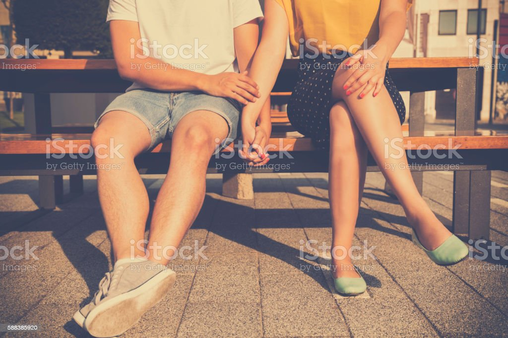 Couple in love holding hands. stock photo