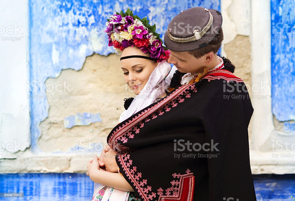 Couple in love in national folk costumes stock photo