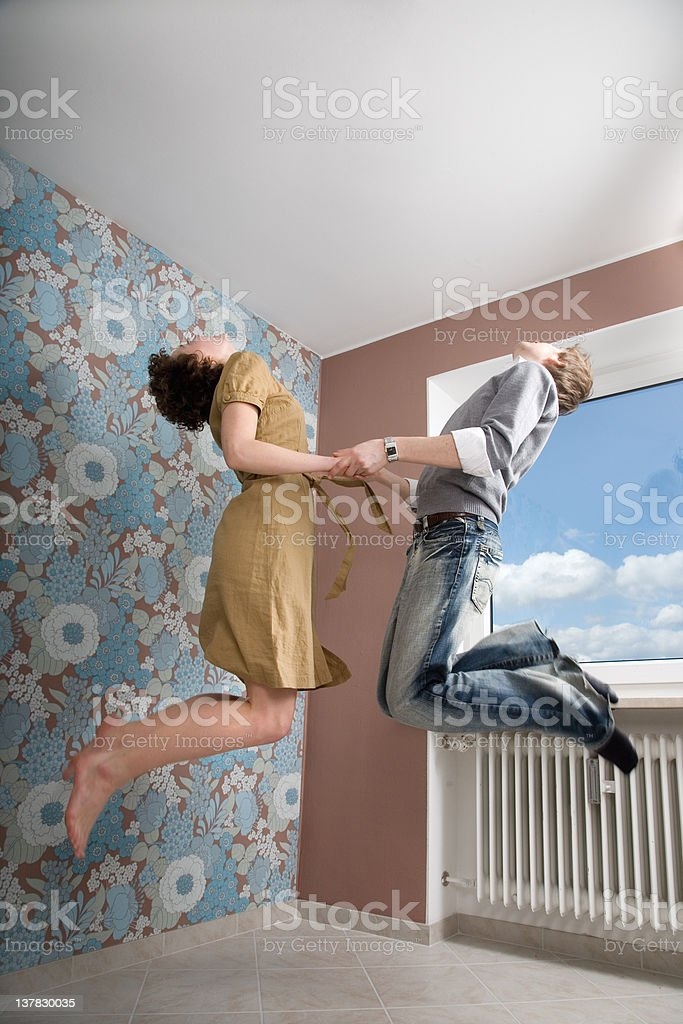 couple in love, jumping stock photo