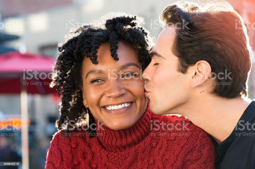 Couple in love kissing stock photo