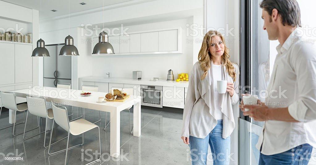 Couple in modern kitchen stock photo