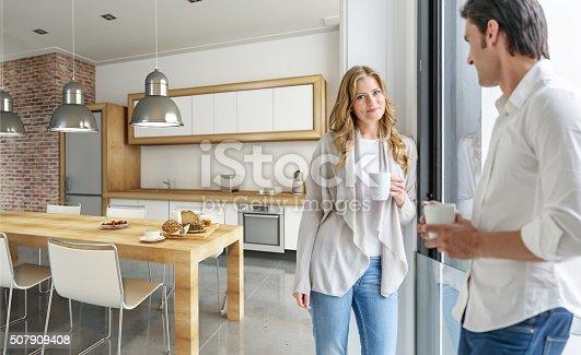 istock Couple in modern kitchen 507909408