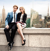Couple in New York rooftop