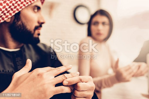 istock Couple in Office of Divorce Lawyer 1125718141