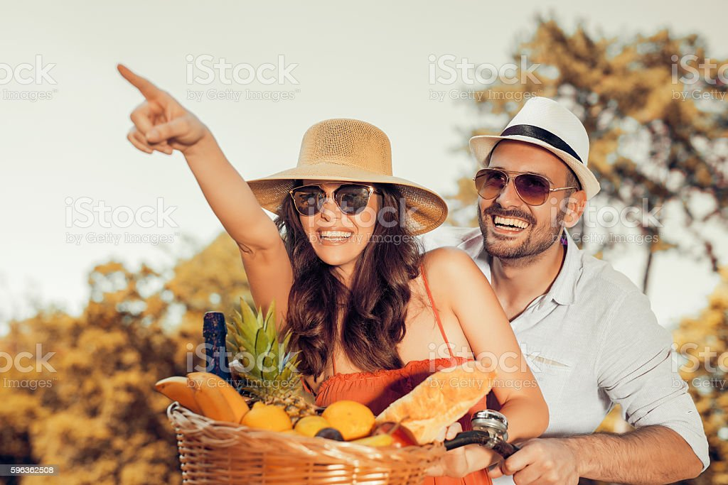 Couple in park on picnic royalty-free stock photo