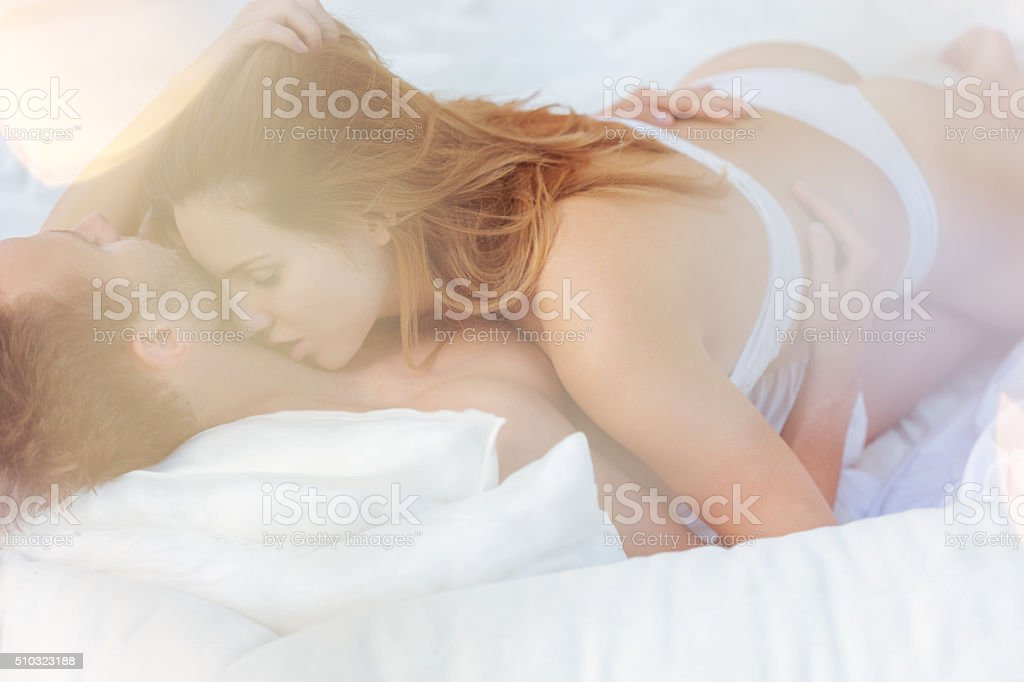 Couple in passionate embrace stock photo