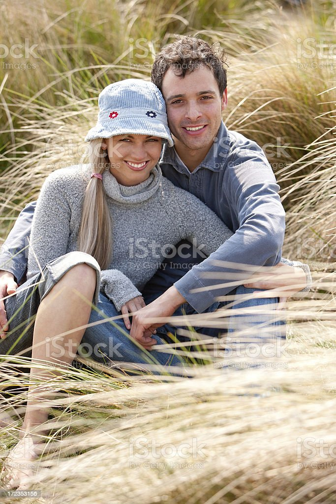 Couple in Sand Dunes royalty-free stock photo