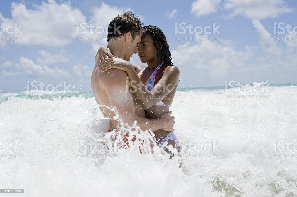 Couple in Sea royalty-free stock photo