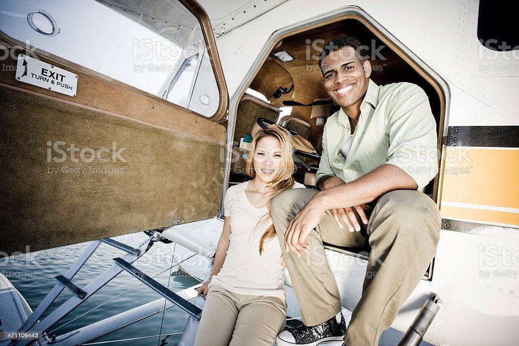 Couple in Seaplane royalty-free stock photo