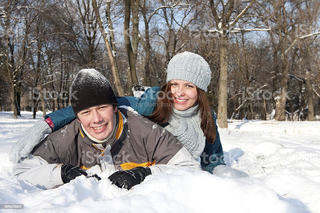 Couple in snow royalty-free stock photo